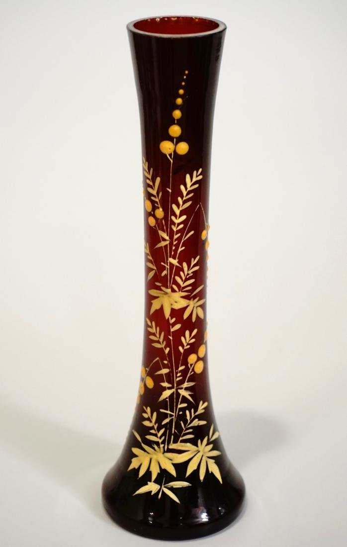 Fine Bohemian Miniature Ruby Vase Embossed Enamel