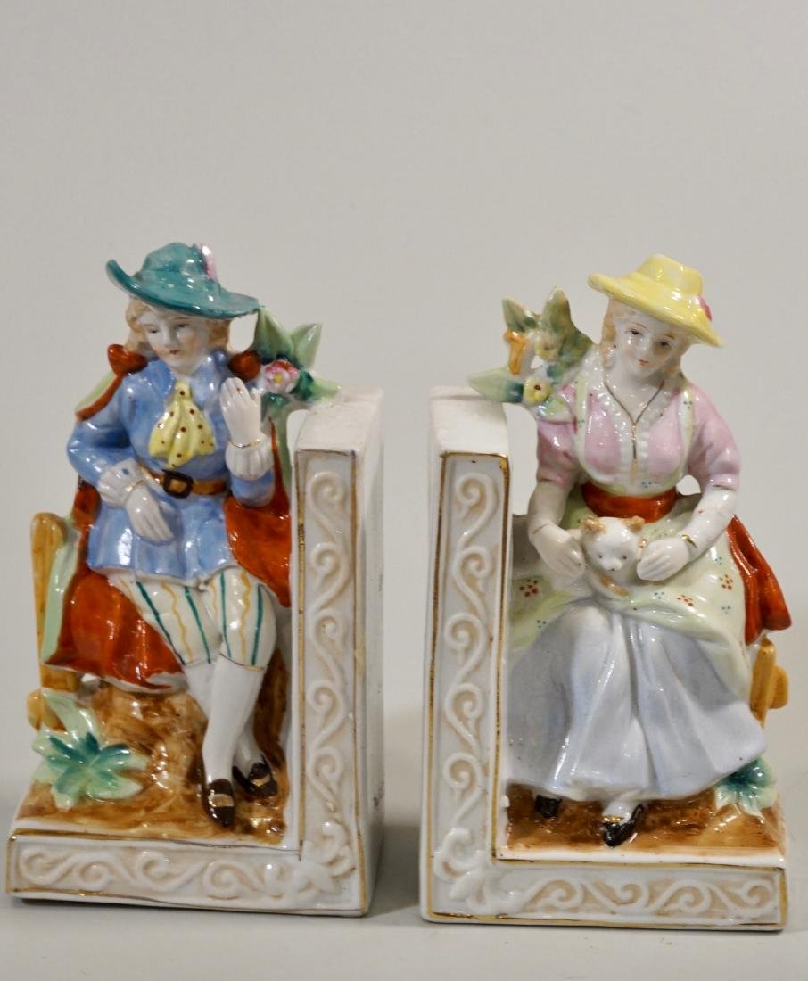 Pair Porcelain Bookends Staffordshire Style Japan