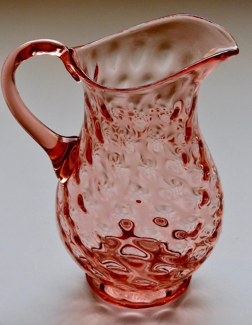 Vintage Blown Glass Pink Hobnail Water Pitcher