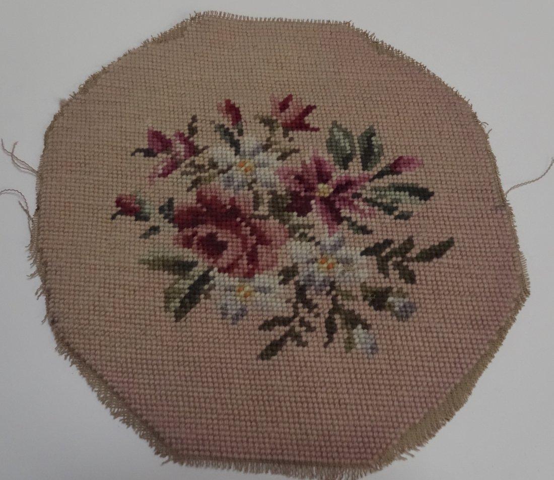 Vintage Round Needlepoint Fragment