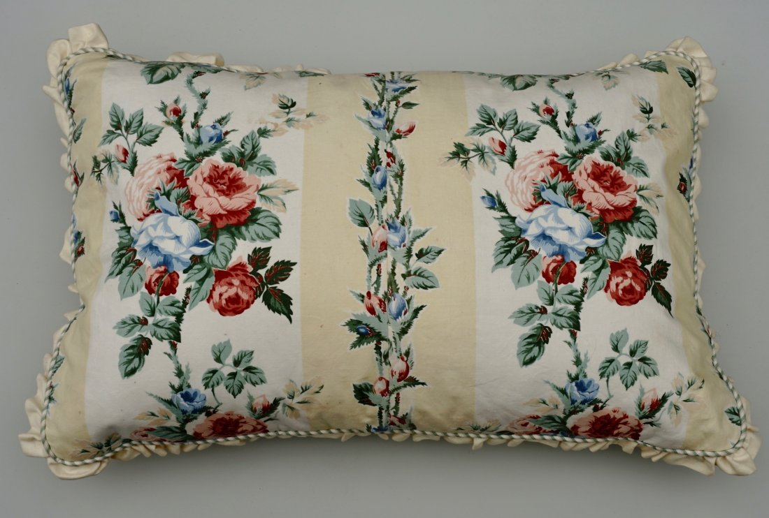 Designer Satin Rose Pillow Mother of Pearl Buttons