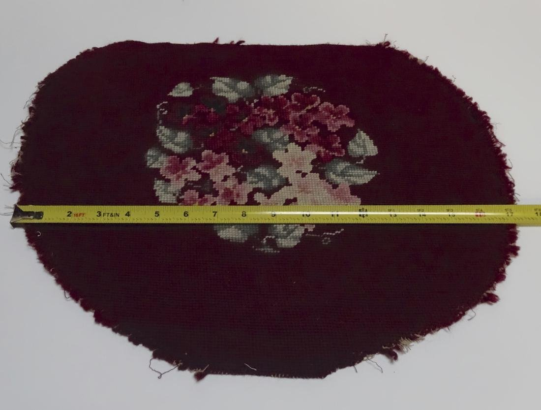 Antique Pancy Flowers Needlepoint Fragment 18 x 15
