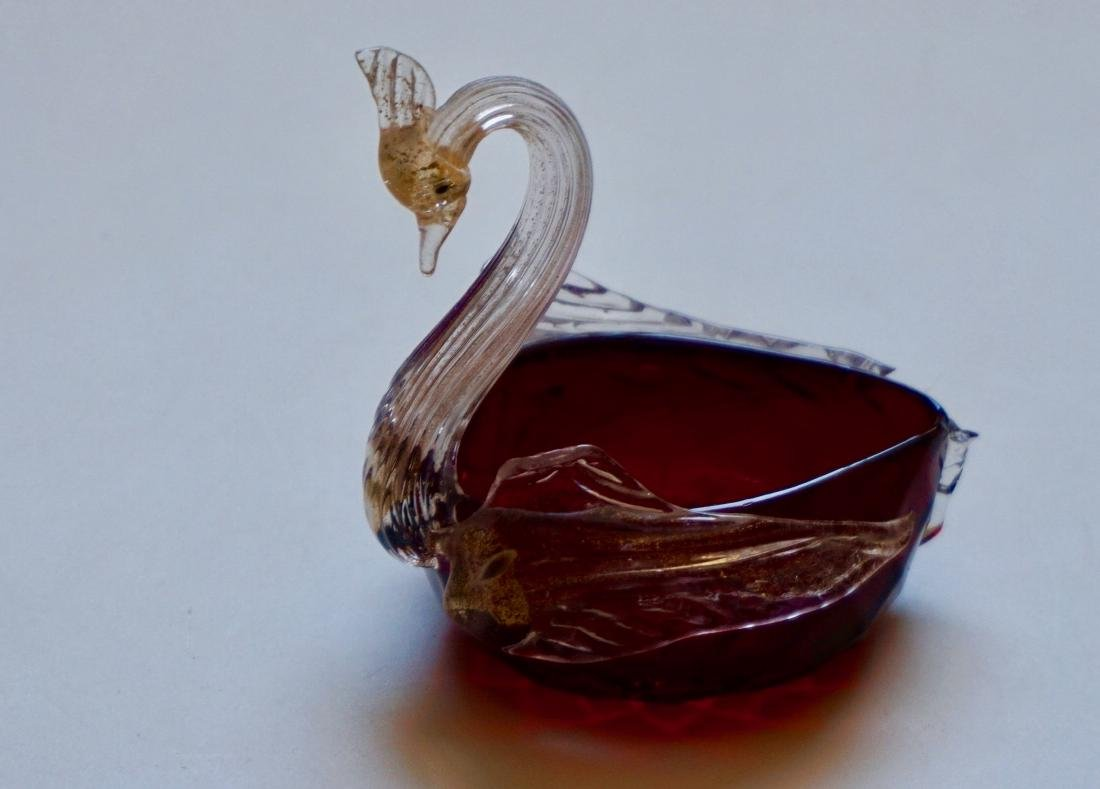 Italian Murano Swan Figural Salt Ruby Glass Gold