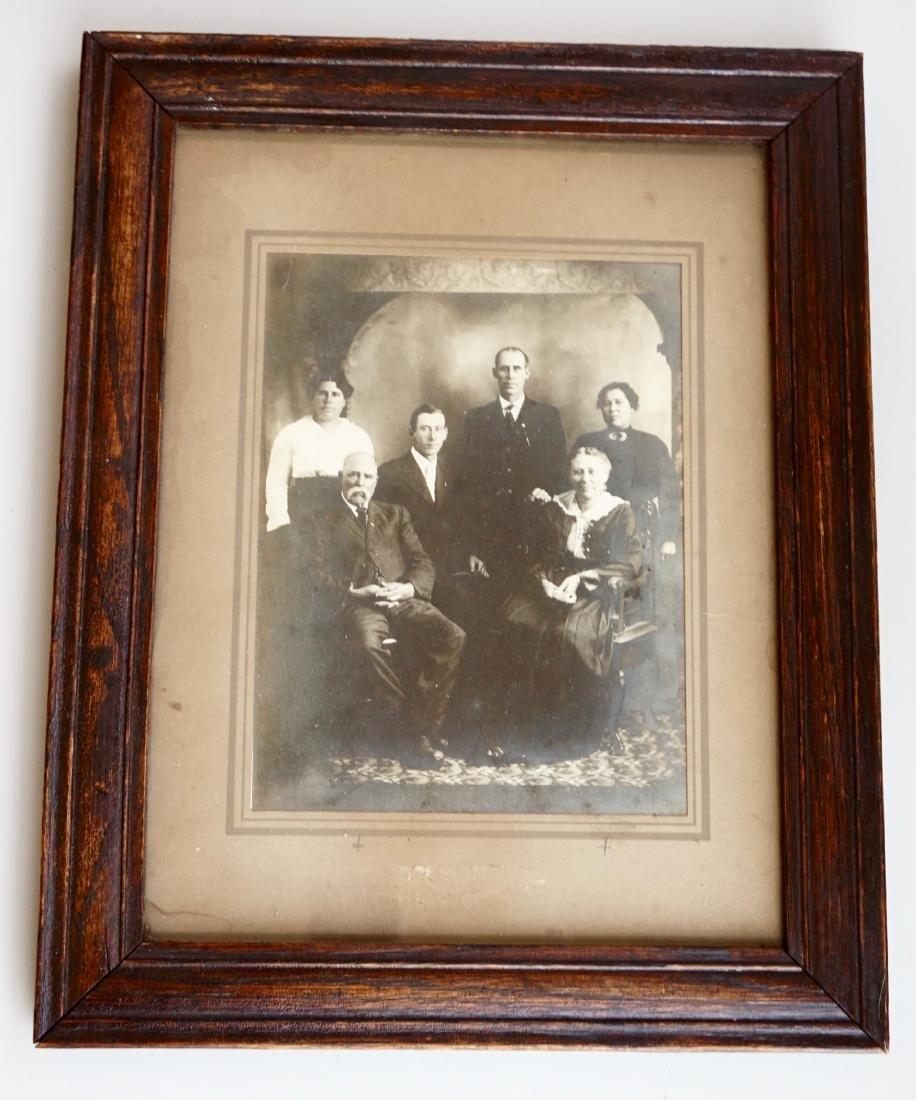Victorian Family Photo Gelatin Silver Print Oak Frame