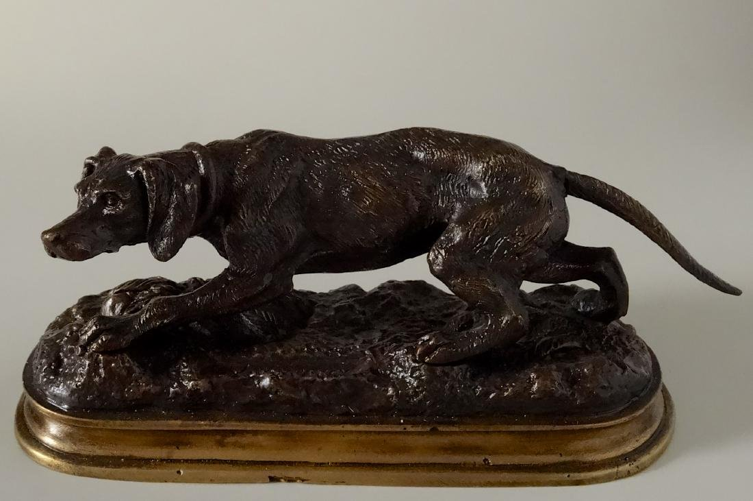 Antique Signed Animalier Bronze Setter Dog Figurine