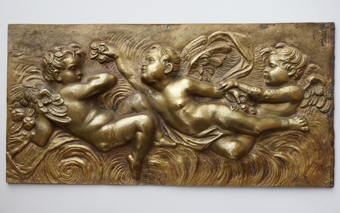 Bronze Cherub Putti Plaque Large Architectural Italian