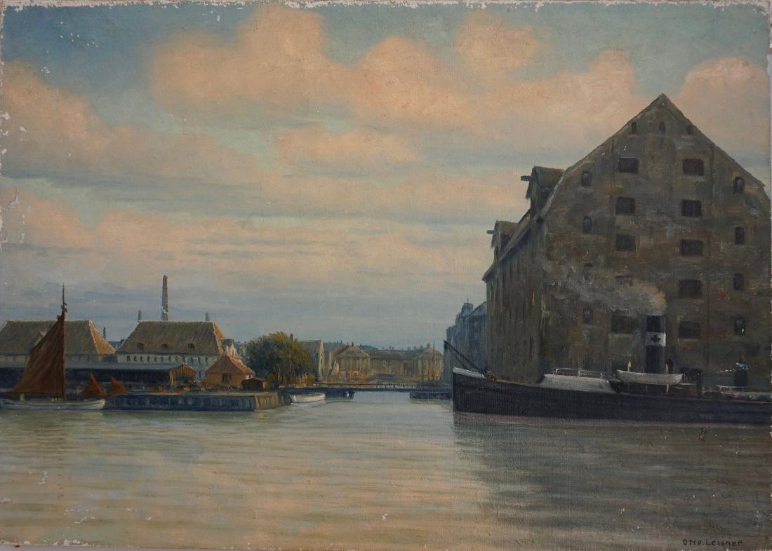 Steam Tugboat Seascape Oil On Canvas Vintage c 1920