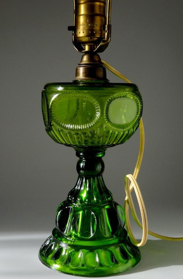 Antique Early American Green Pattern Glass Kerosene