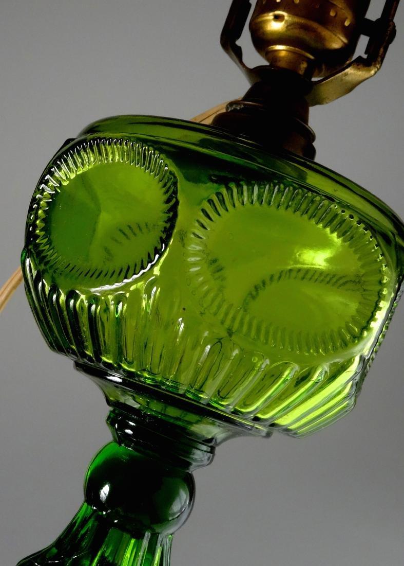 Antique Early American Green Pattern Glass Kerosene - 3