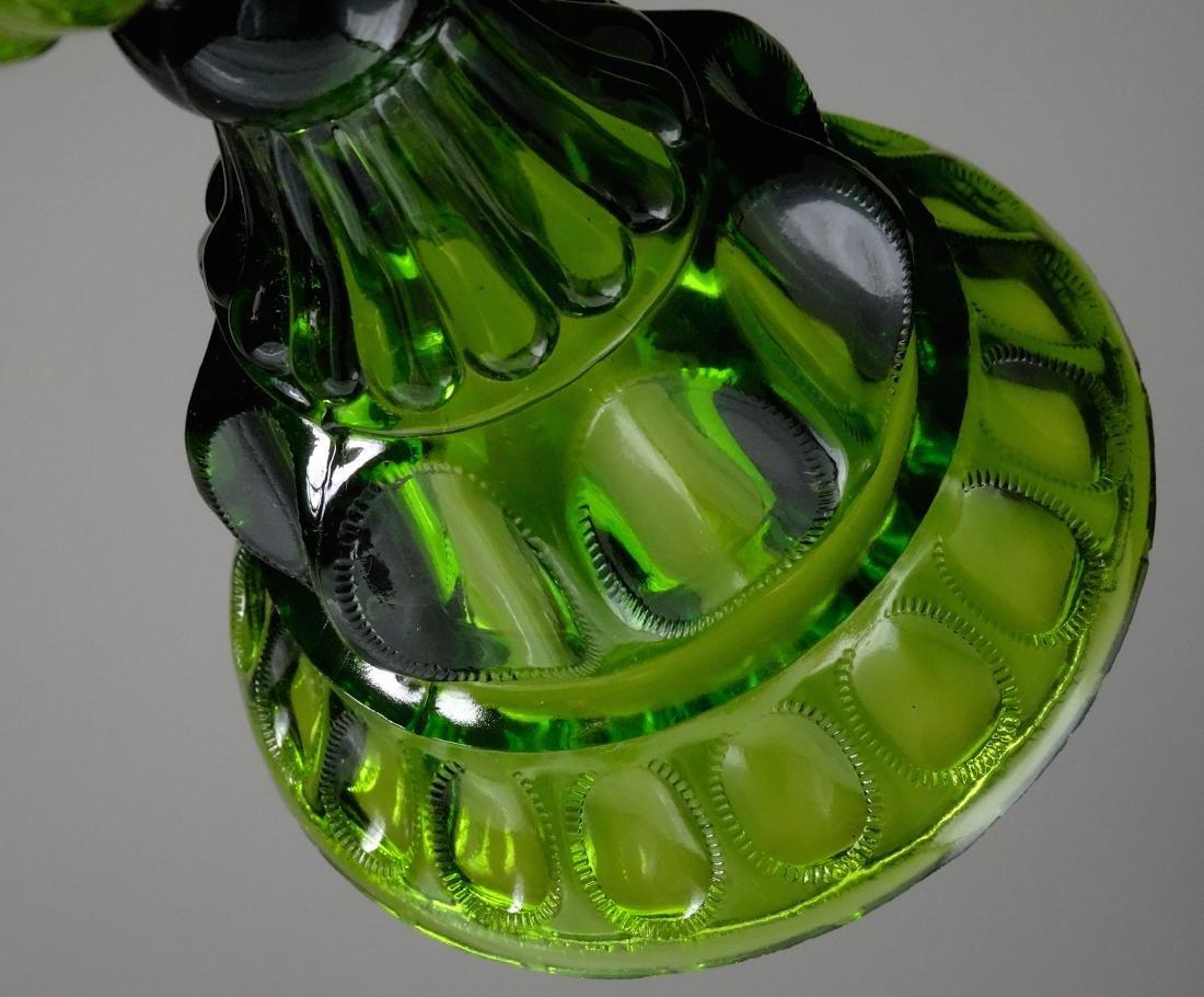 Antique Early American Green Pattern Glass Kerosene - 5