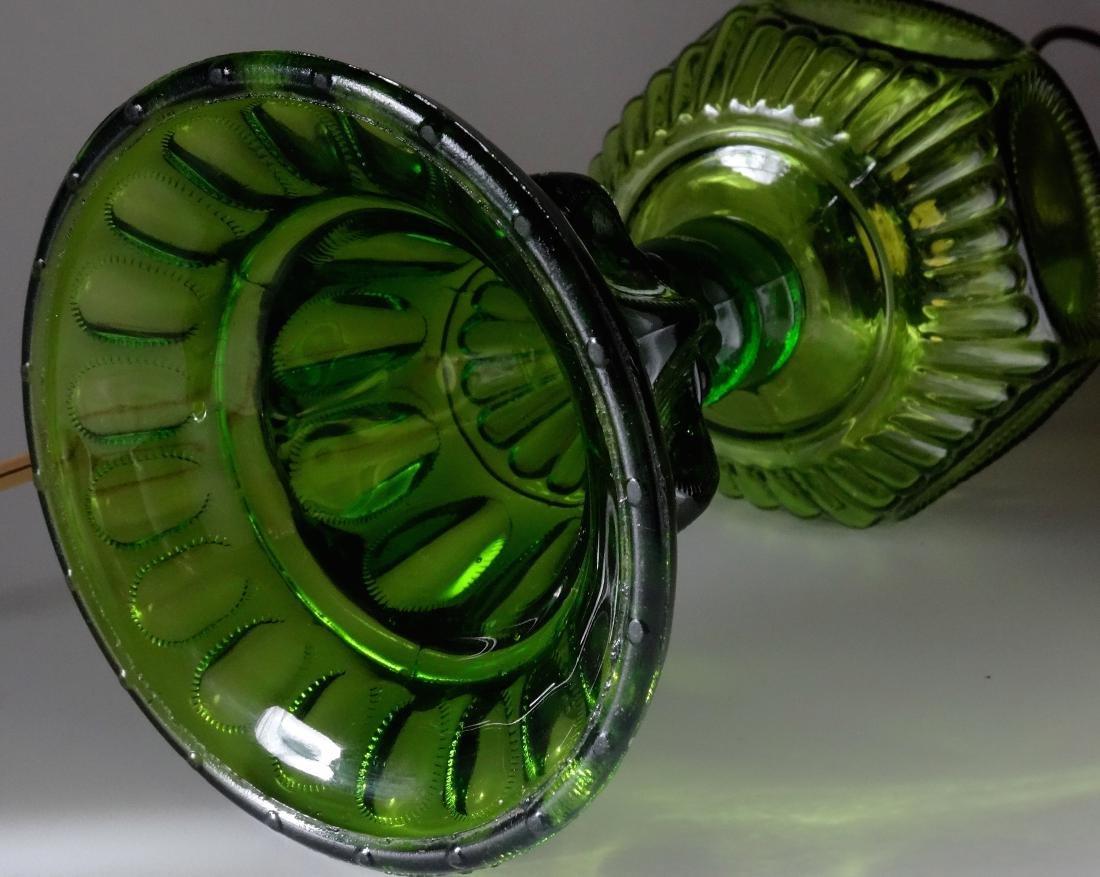 Antique Early American Green Pattern Glass Kerosene - 6