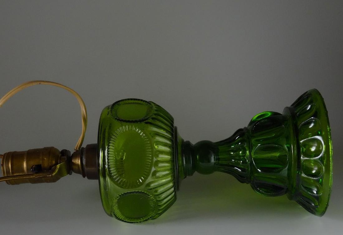 Antique Early American Green Pattern Glass Kerosene - 8