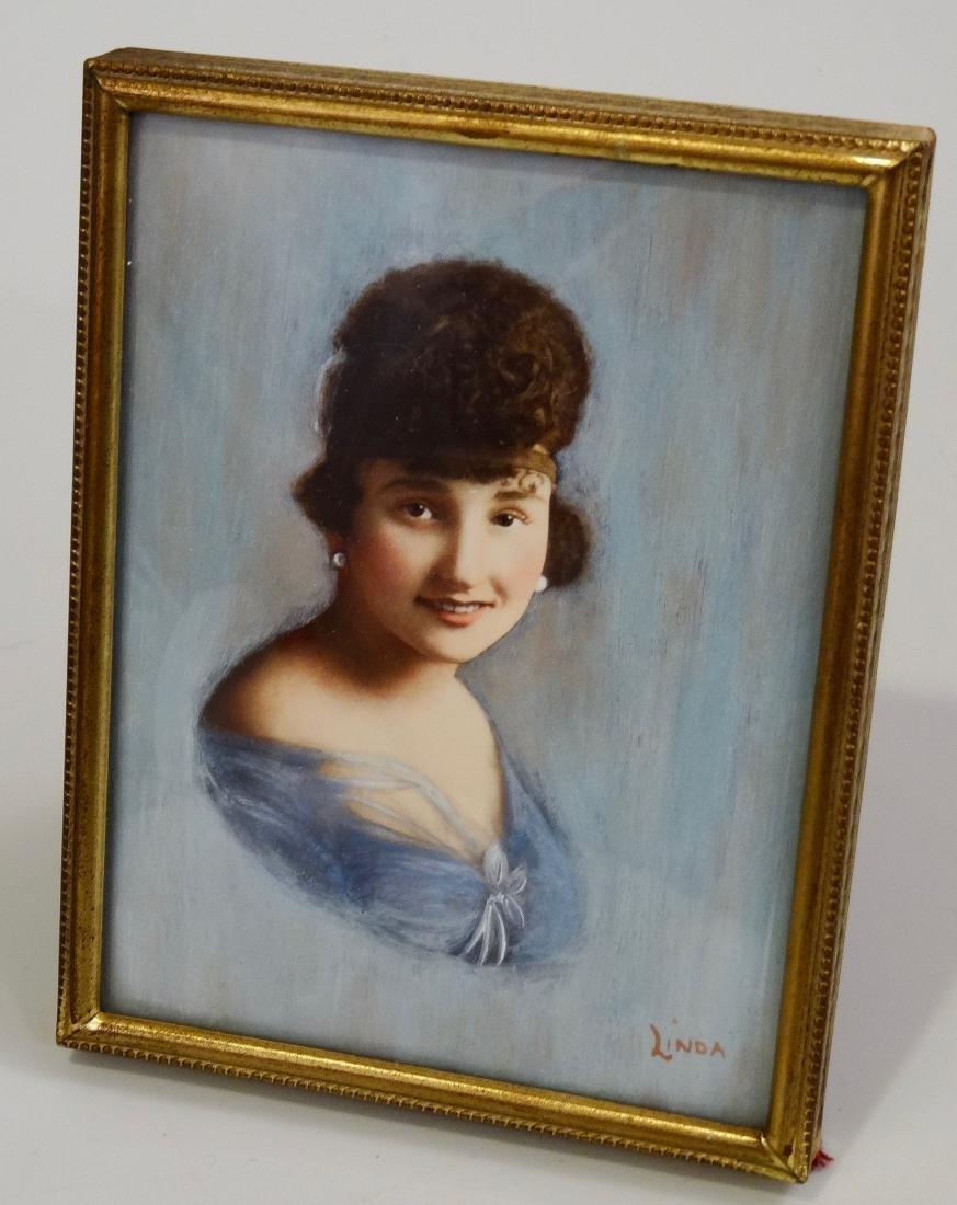 Vintage Art Deco Beauty Miniature Portrait Painting