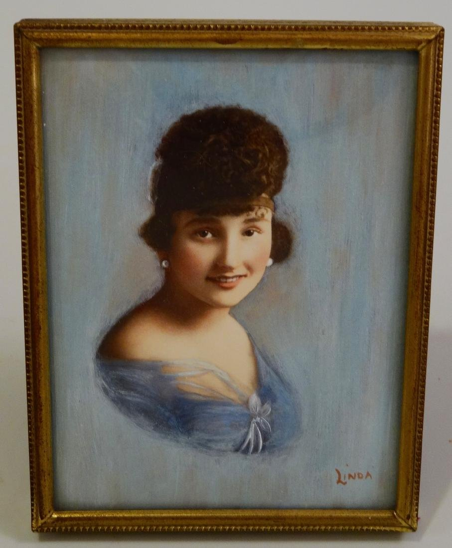 Vintage Art Deco Beauty Miniature Portrait Painting - 2