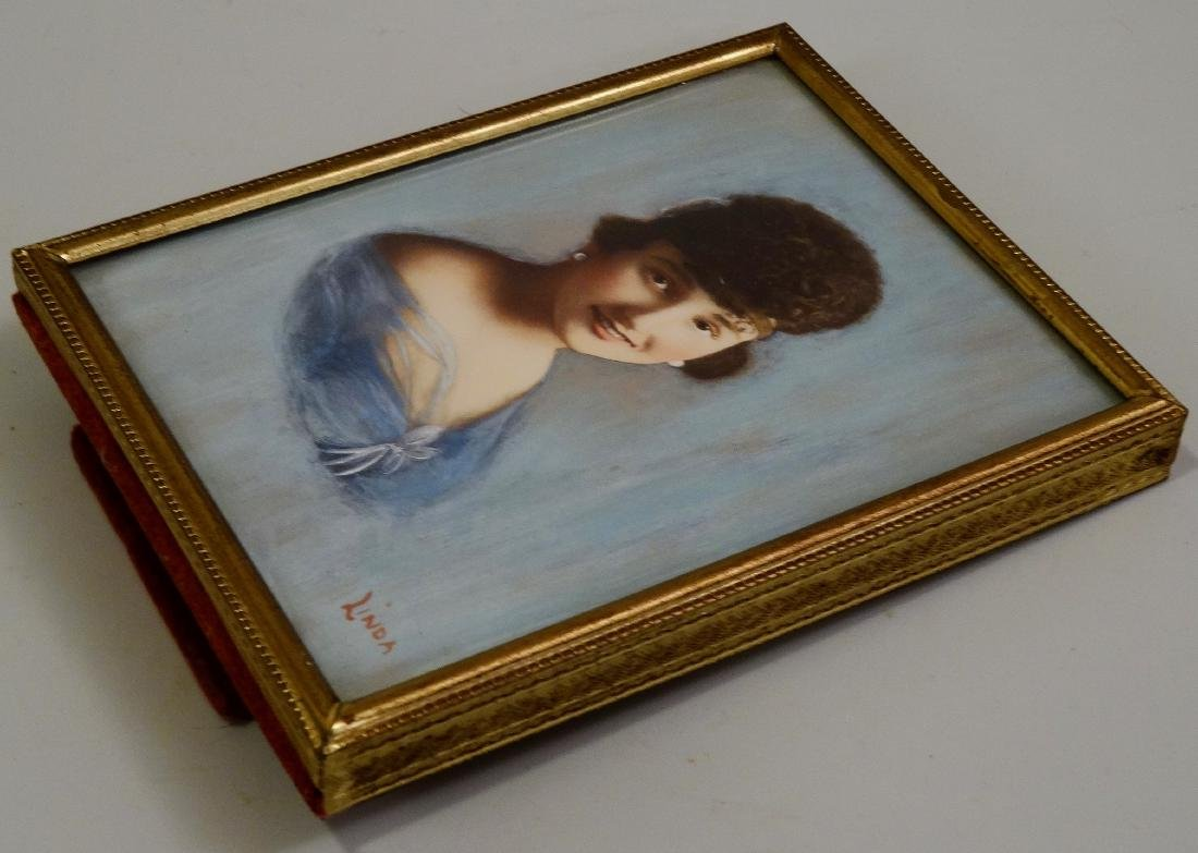 Vintage Art Deco Beauty Miniature Portrait Painting - 4