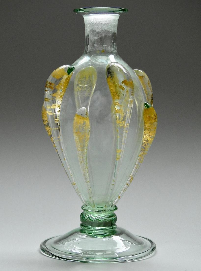 Venetian Glass Small Vase Bottle Gold Leaf Flakes Italy