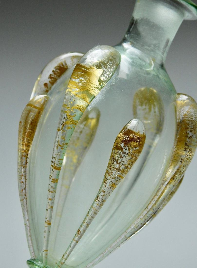Venetian Glass Small Vase Bottle Gold Leaf Flakes Italy - 4