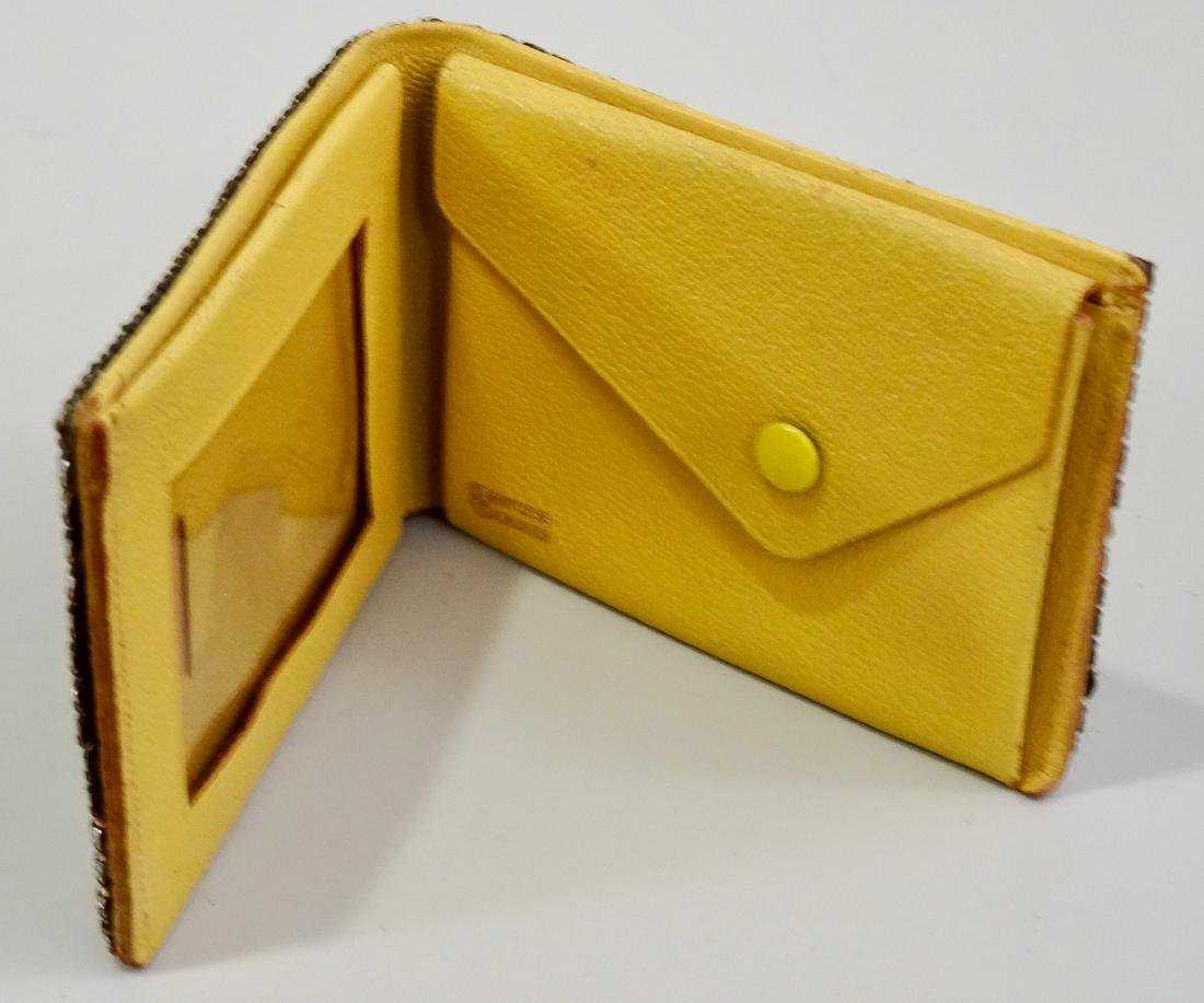 Princess Gardner Vintage Jeweled Yellow Leather Bifold - 5
