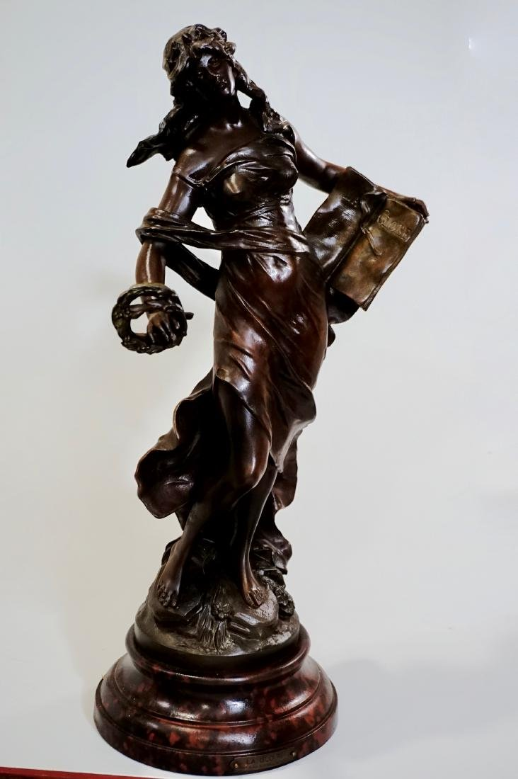 Antique French Spelter Statue La Gloire After Auguste - 3