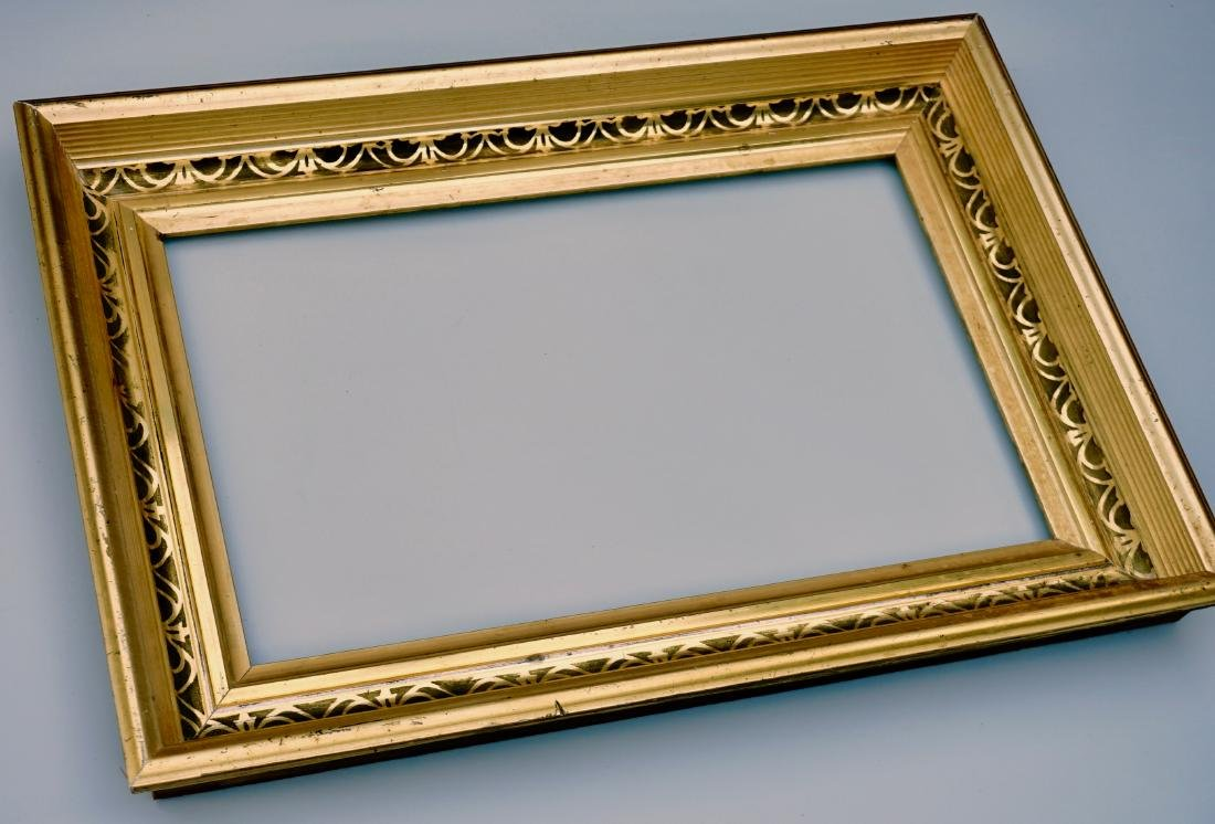 Lemon Gold Antique Frame 19th Century Rectangular Wood - 2