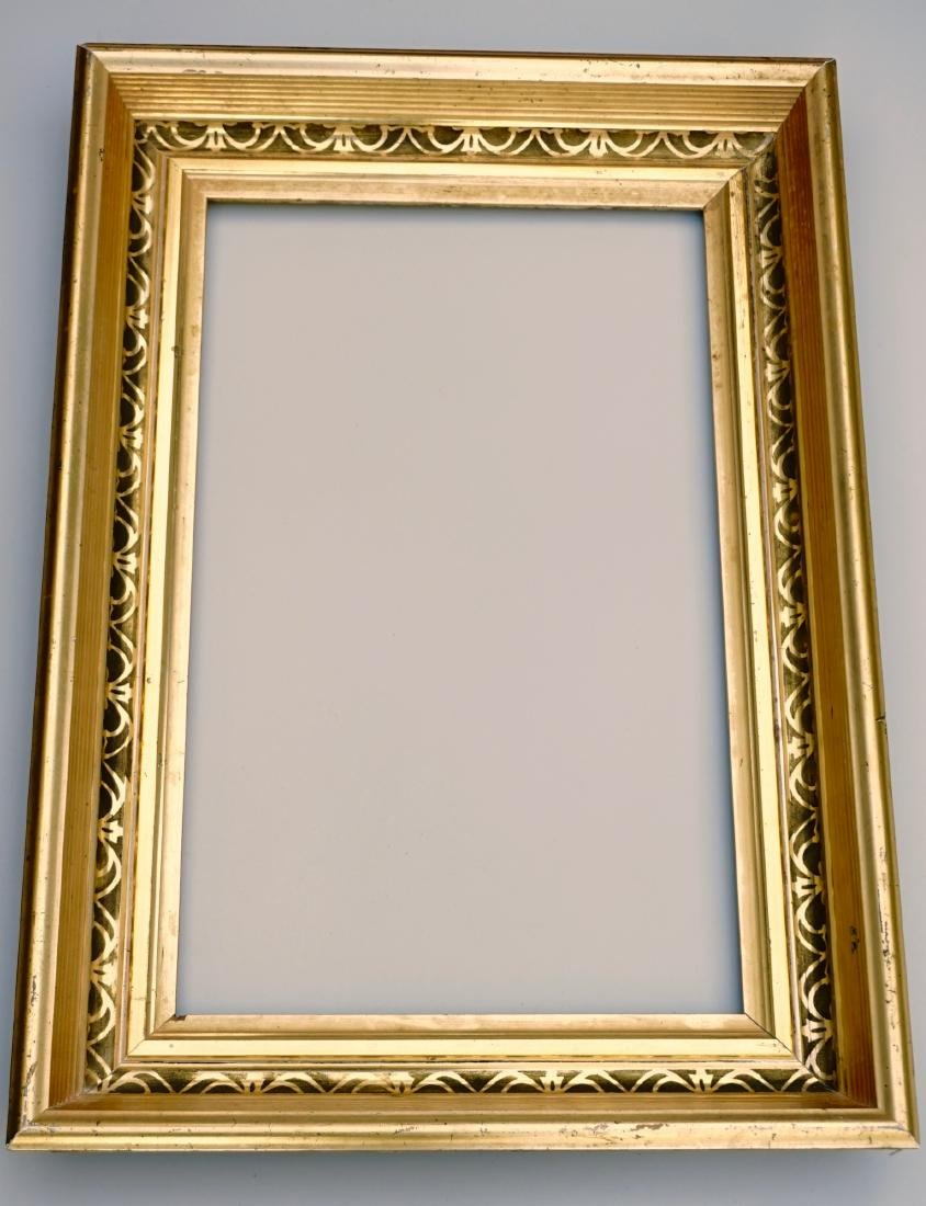 Lemon Gold Antique Frame 19th Century Rectangular Wood - 3