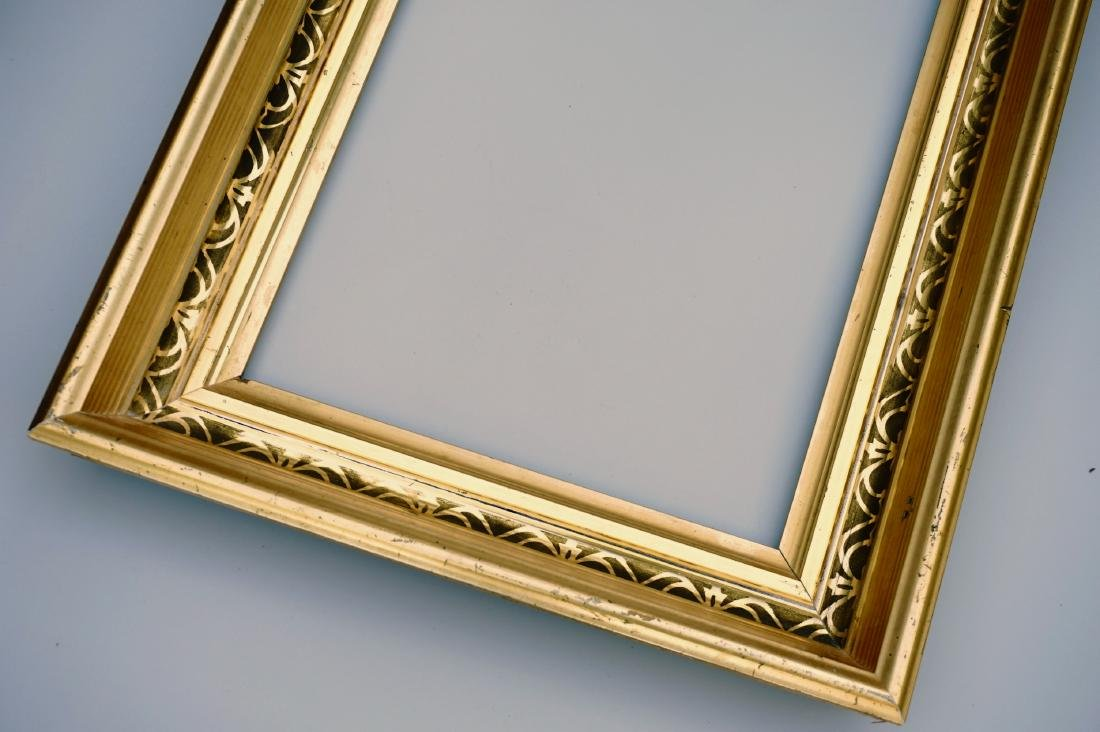 Lemon Gold Antique Frame 19th Century Rectangular Wood - 4
