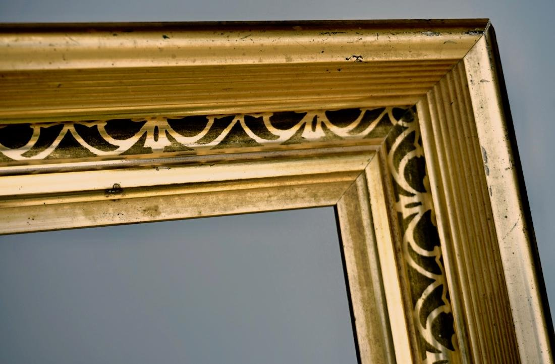 Lemon Gold Antique Frame 19th Century Rectangular Wood - 5