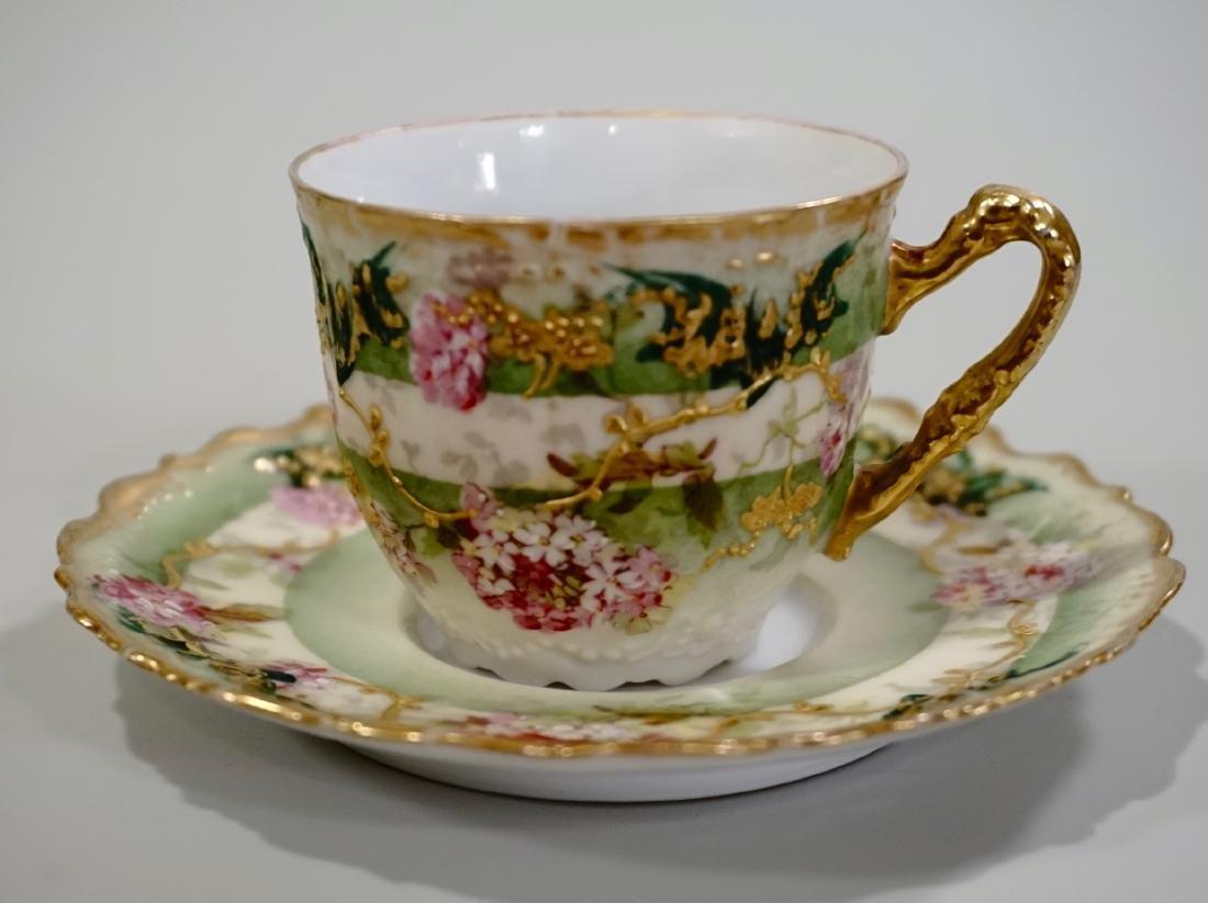 Limoges Porcelain Demitasse Cup Saucer Set Antique