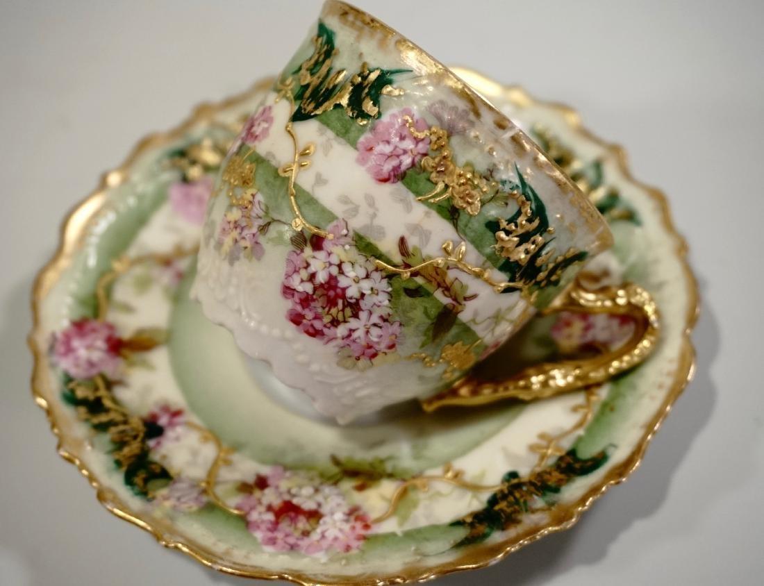 Limoges Porcelain Demitasse Cup Saucer Set Antique - 3