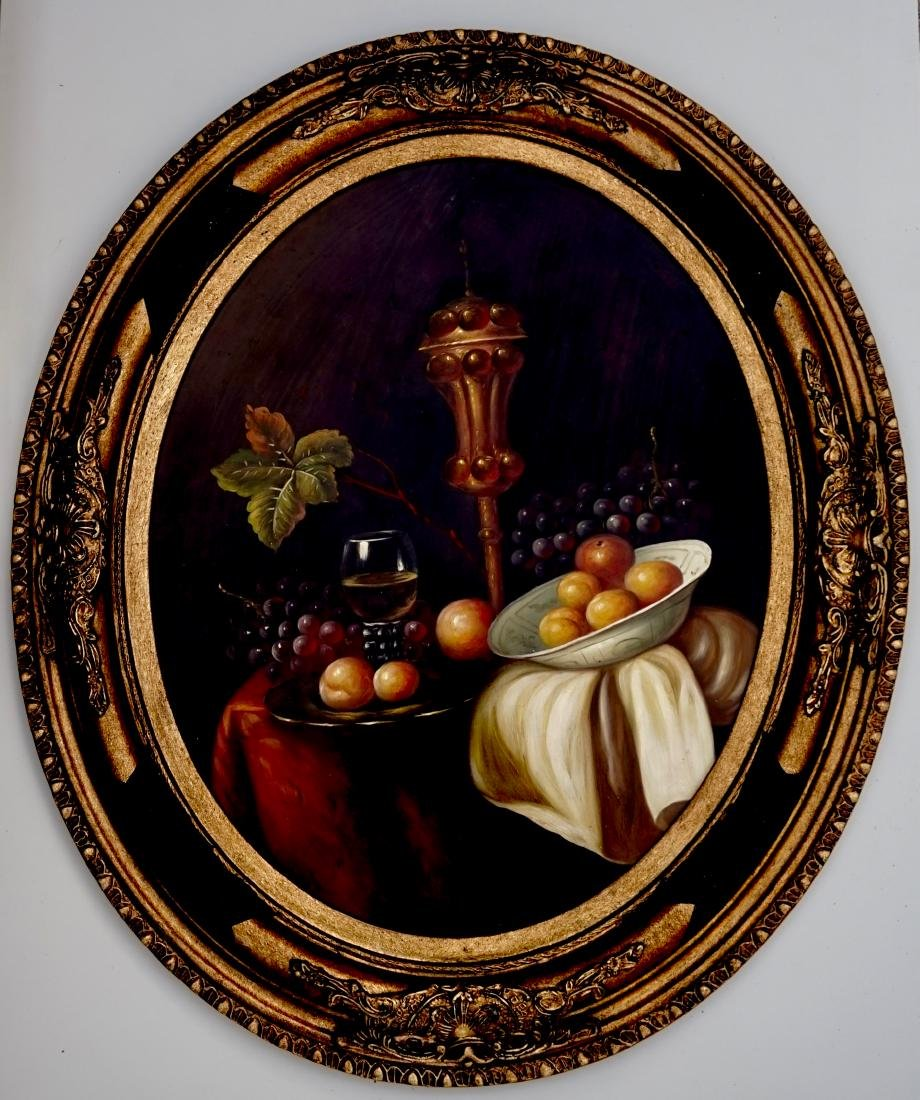 Still Life Fruits Oval Oil on Board Painting Framed