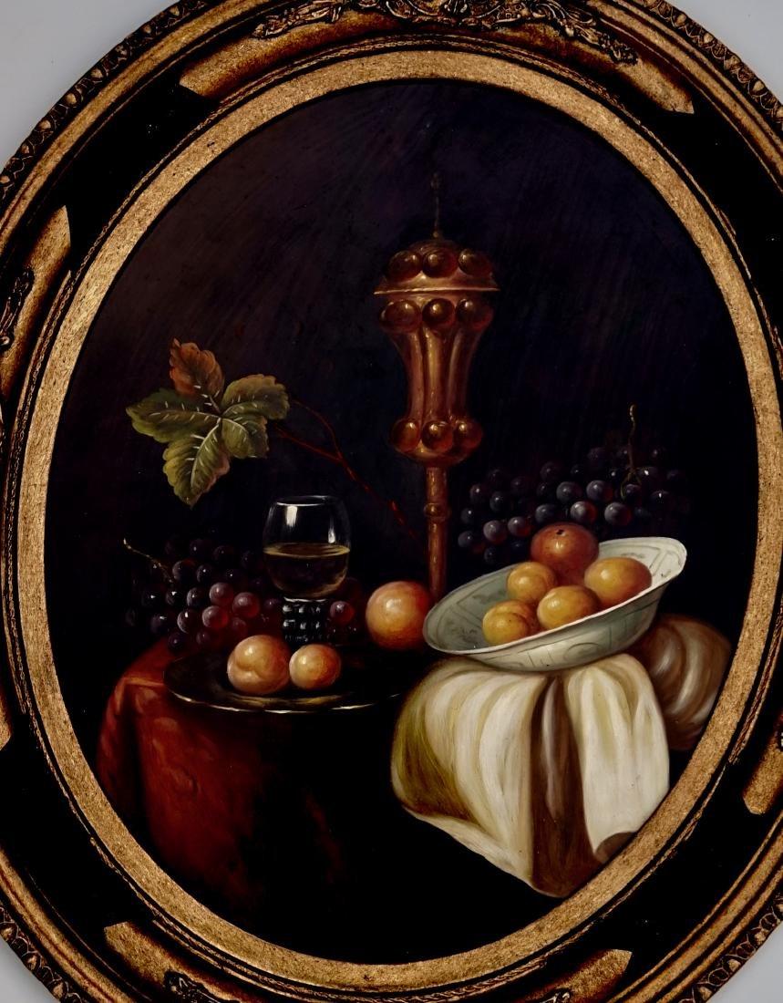 Still Life Fruits Oval Oil on Board Painting Framed - 2