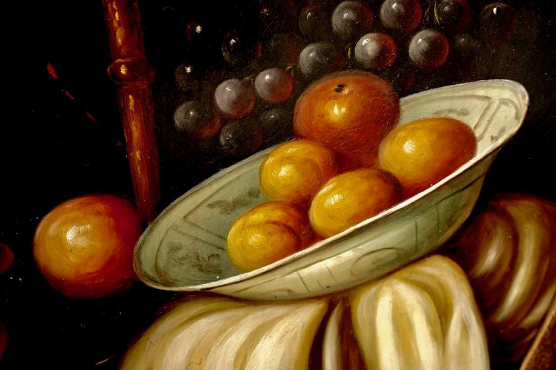 Still Life Fruits Oval Oil on Board Painting Framed - 3