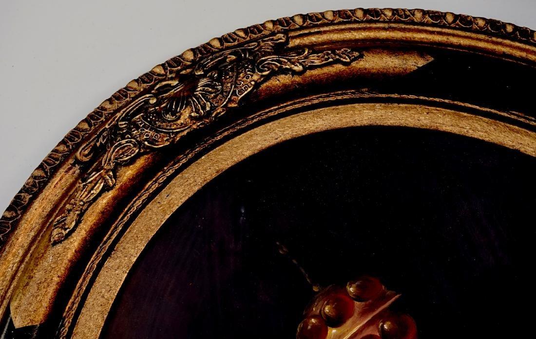 Still Life Fruits Oval Oil on Board Painting Framed - 4
