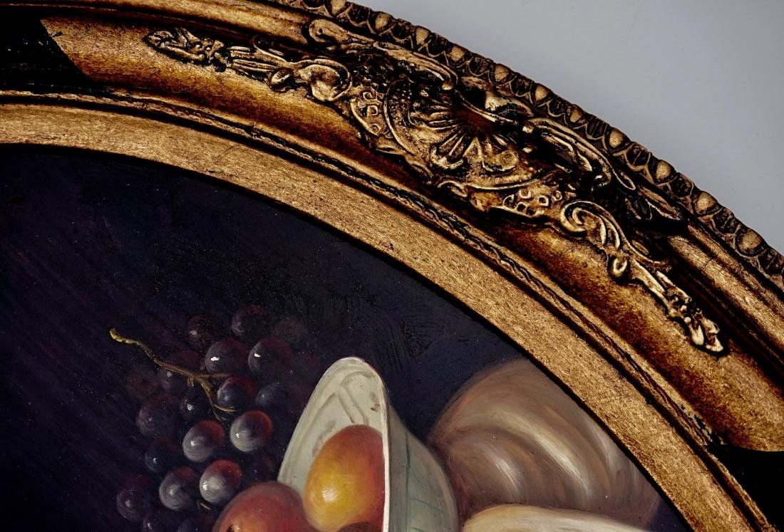 Still Life Fruits Oval Oil on Board Painting Framed - 5
