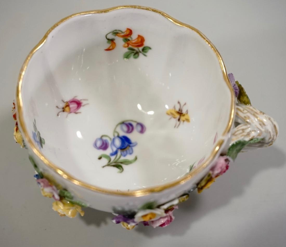 Meissen Porcelain Floral Encrusted Demitasse Cup - 10