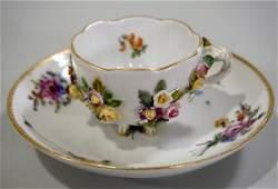 Meissen Porcelain Floral Encrusted Demitasse Cup