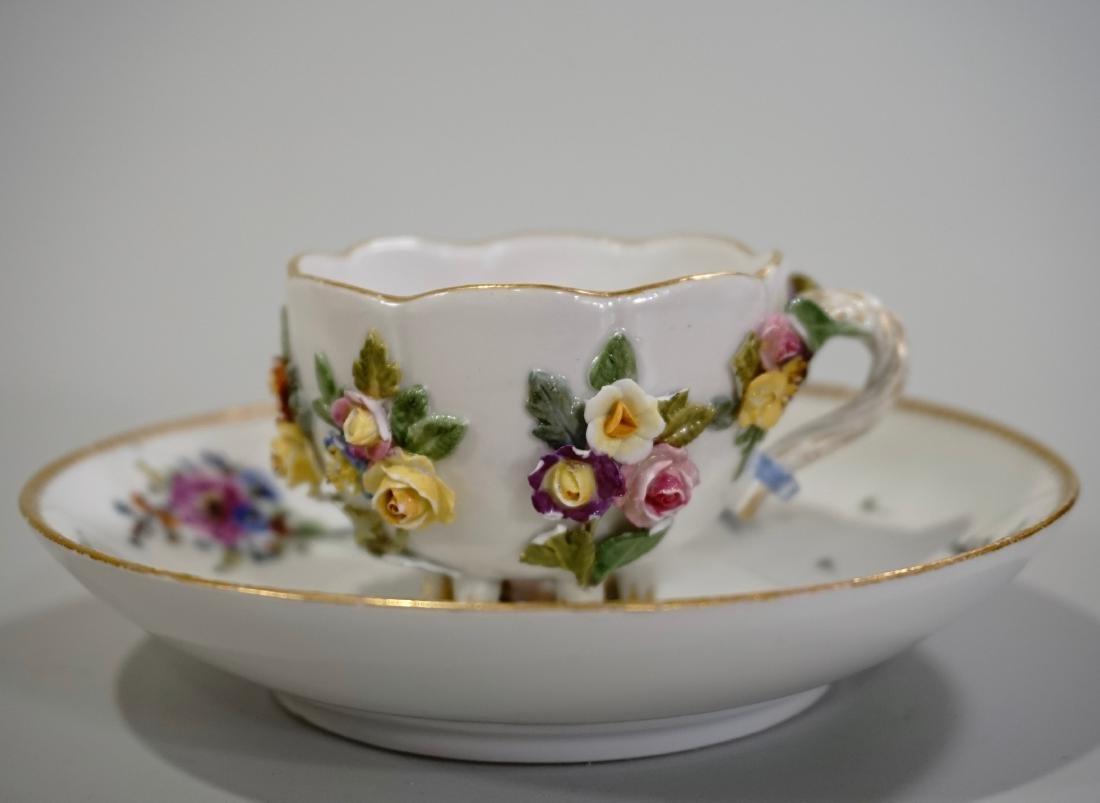 Meissen Porcelain Floral Encrusted Demitasse Cup - 2