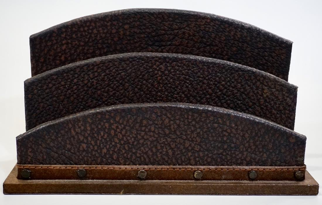 Italian Art Deco Style Embossed Leather Letter Rack