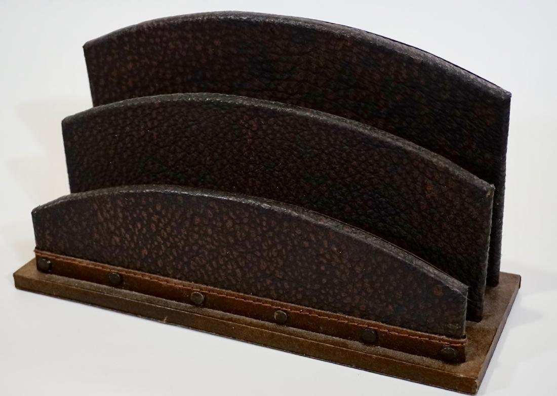 Italian Art Deco Style Embossed Leather Letter Rack - 2