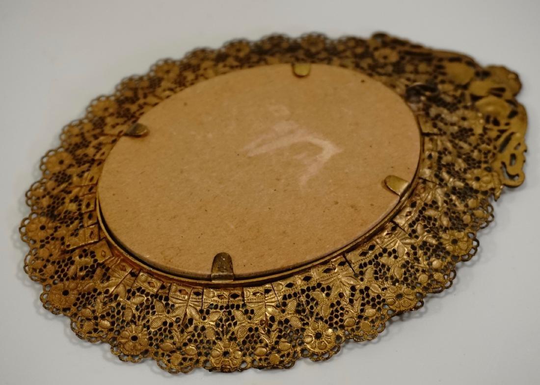 Vintage Filigree Brass Miniature Frame - 11