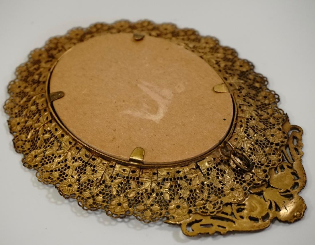 Vintage Filigree Brass Miniature Frame - 12