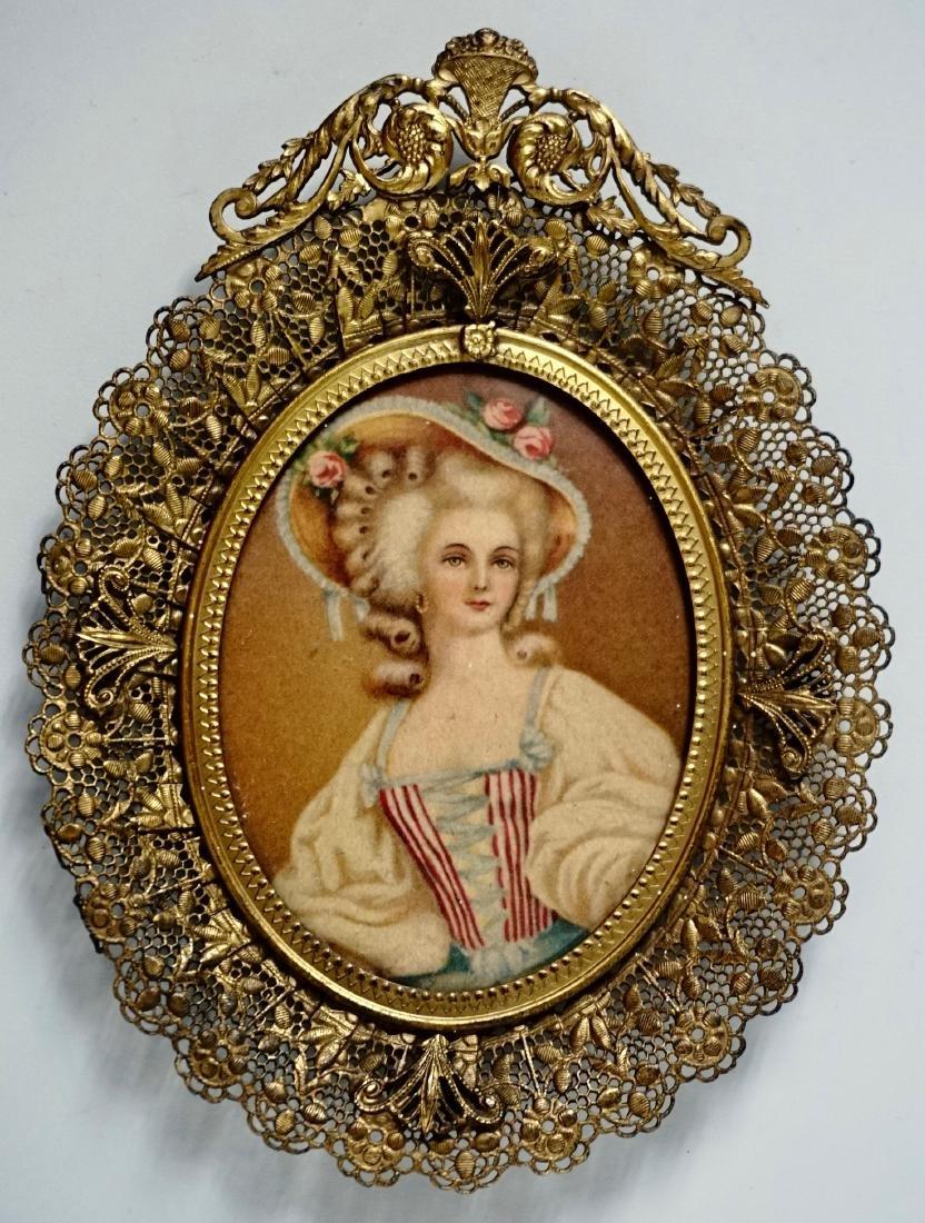 Vintage Filigree Brass Miniature Frame