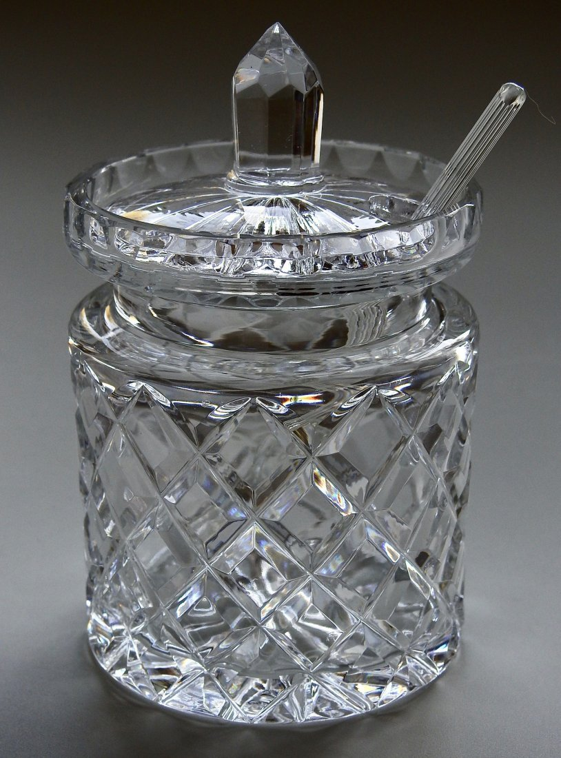 Crystal Jam Jar Pot With Glass Serving Spoon