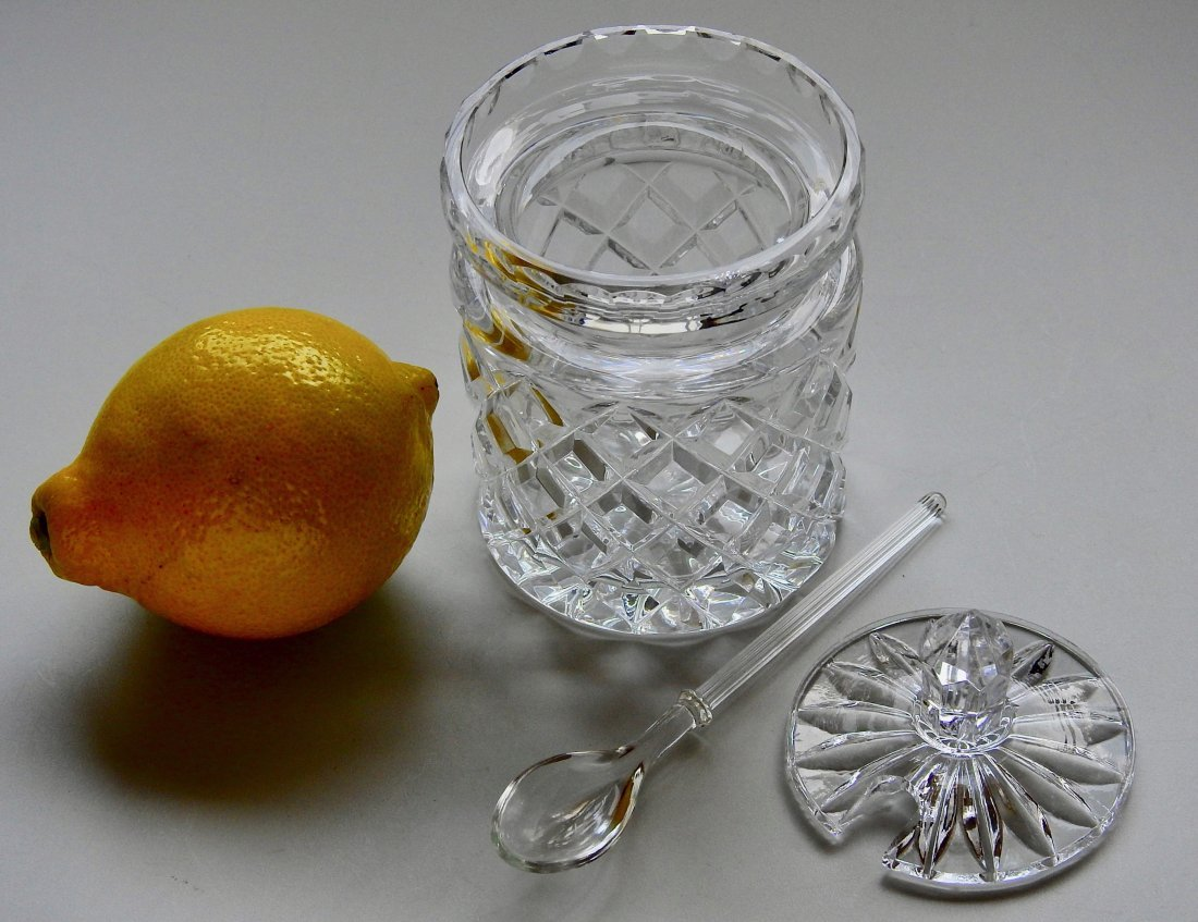 Crystal Jam Jar Pot With Glass Serving Spoon - 2