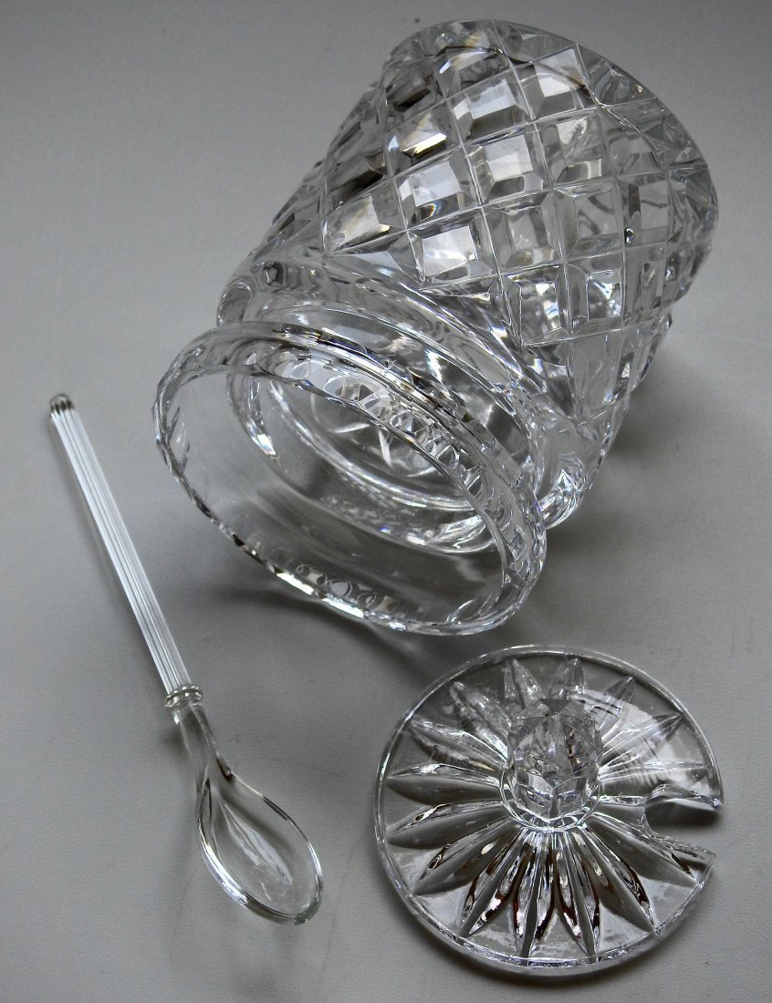 Crystal Jam Jar Pot With Glass Serving Spoon - 3