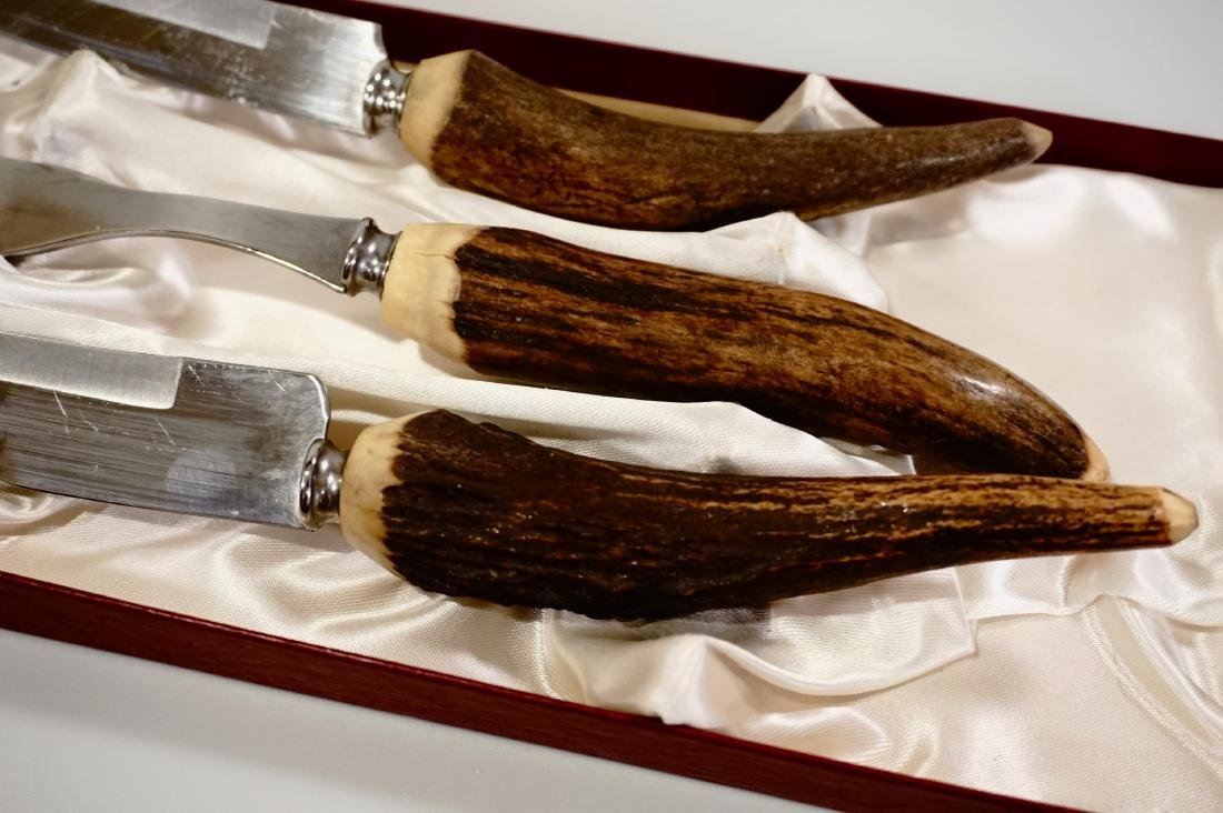 Antler Handle Carving Set Voos Co. USA - 5