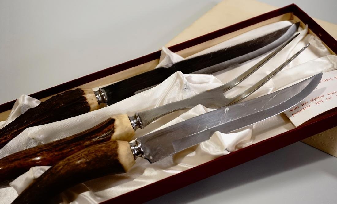 Antler Handle Carving Set Voos Co. USA - 6