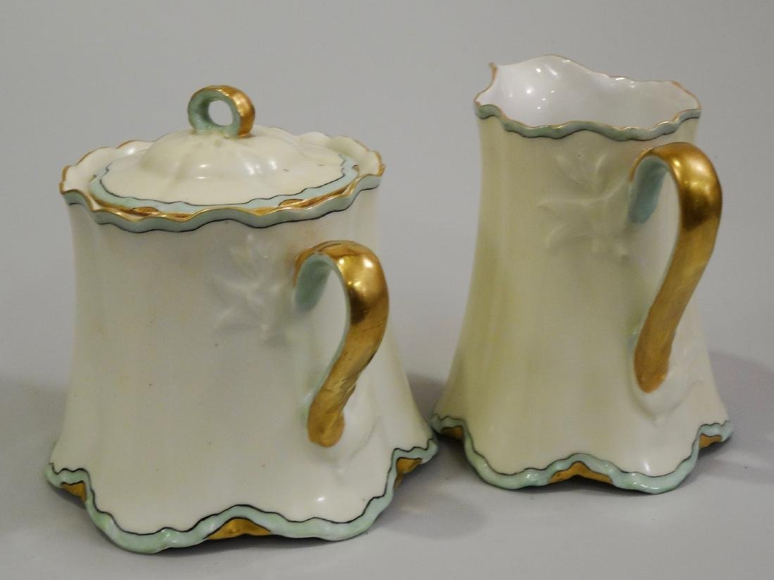 Haviland France Art Nouveau Porcelain Creamer Sugar Set - 5