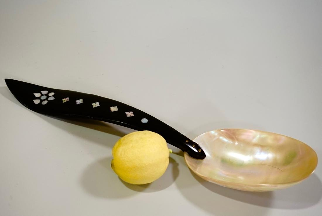 Antique MOP Ladle Victorian Horn Handled Mother of