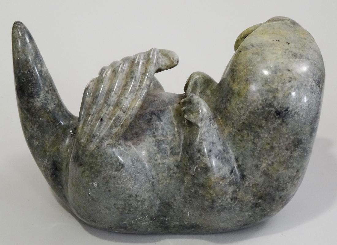 Inuit Eskimo Large Stone Otter Carving Artist Signed - 4